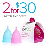 Anigan EvaCup (Made in USA - FDA Registered) - Cherry Blossom & Blizzard (Large) Menstrual Cup