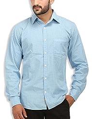 SPEAK Men's Blue Paisley Print Cotton Casual Shirt
