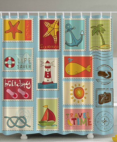 Nautical-Theme-Lighthouse-Anchor-Palm-Trees-Beach-Sailing-Holiday-Lover-Seascape-Collection-Bathroom-Decor-Accessories-Home-Design-Ideas-Stamps-Digital-Print-Aqua-Polyester-Fabric-Shower-Curtain