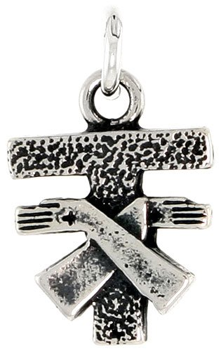 Sterling Silver Ancient Jew Cross Pendant, 1/2 inch tall