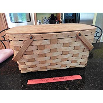 "Vintage Picnic basket wooden X-large 2 handles hinged top apx 20"" x 12"" x 10"""