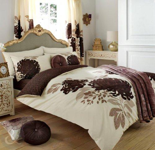 Just Contempo - Set copripiumino double-face con motivo floreale in tessuto misto di cotone ricamato copripiumino matrimoniale panna & marrone (cioccolato naturale)