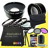58mm Macro Close Up Kit + Wide Angle + 2x Telephoto Lenses + 3 Piece Filter Kit for Nikon D3300 with Nikon 55-300mm Lens + DavisMAX Fibercloth Deluxe Lens Bundle