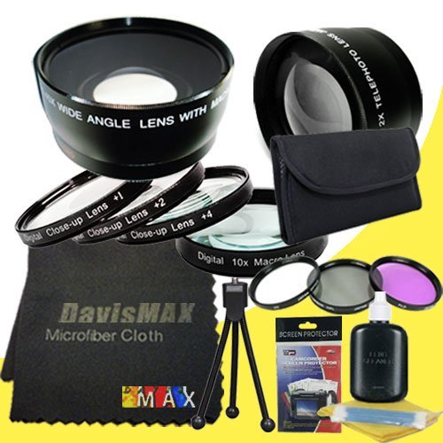 58Mm Macro Close Up Kit + Wide Angle + 2X Telephoto Lenses + 3 Piece Filter Kit For Nikon D3300 With Nikon 55-300Mm Lens + Davismax Fibercloth Deluxe Lens Bundle