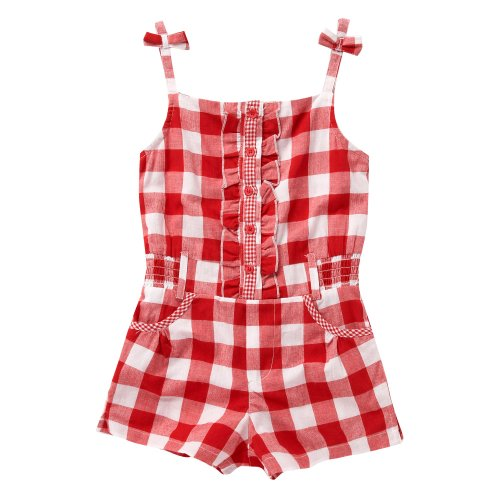 bluezoo Bluezoo Girl's Red Gingham Checked Playsuit
