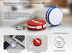 DivineXt Round Keychain with Multi Connector Data cable For Android /Windows/iphone