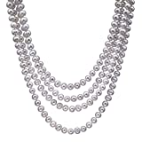 """HinsonGayle Handpicked 8.5-9mm Lustrous White Circlé Baroque Freshwater Cultured Pearl Rope 82"""""""
