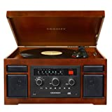 Crosley CR7007A-MA Patriarch 3-Speed Turntable with CD/Cassette Player and Portable Audio Ready (Mahogany)