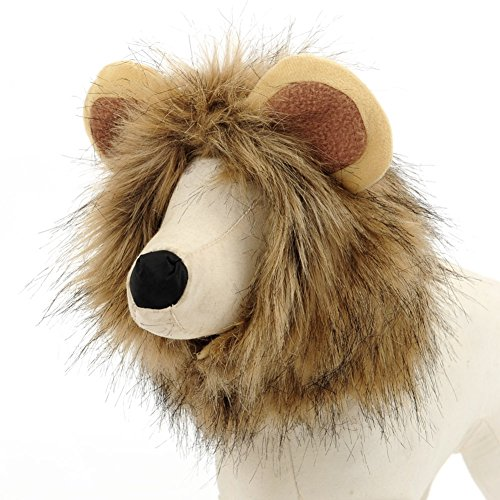 TopTie Lion Mane Wig Pet Costume with Lion Ears, Pet Hat L