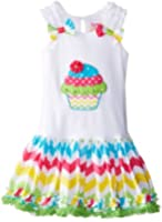 Rare Editions Little Girls' Chevron Dress with Cupcake Applique