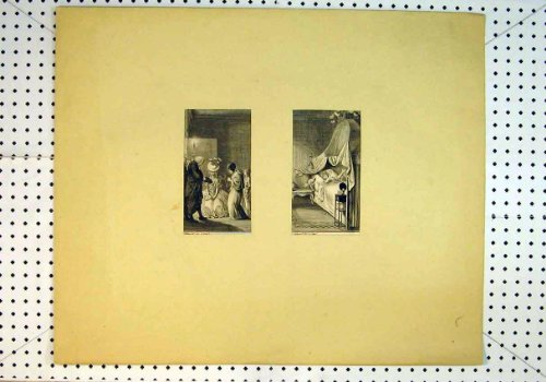 Antique Print C1847 Ill Woman Bed Candle Light Prayers front-14158