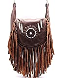 Red Indians Genuine Leather Boho Fringe Cross Body Hip Fanny Bag Pouch