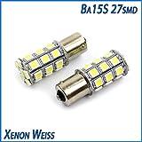 2 x BA15s mit 27 SMD LED P21W WEISS 12V Blinker Standlicht Bremslicht PKW