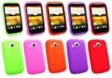 Emartbuy® HTC Desire C Bundle Pack of 5 Silicon Skin Cover/Case Hot Pink, Purple, Red, Orange & Green