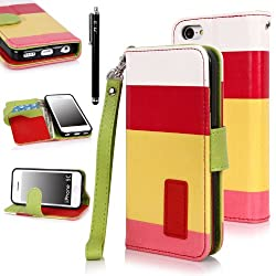 E LV Deluxe PU Leather Wallet Purse Flip Folio Stand Case Cover for iPhone 5C with 1 Stylus and 1 Clear Screen Protector (Hot Pink Yellow Pink)