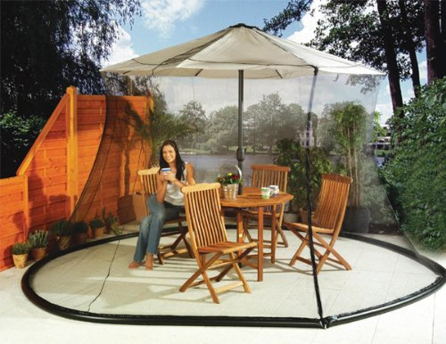 Umbrella Mosquito Net Canopy Patio Set Screen House WHT