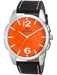 Swisstone FTREK612-ORN-BLK Orange Dial Black Strap Analog Wrist Watch For Men/Boys