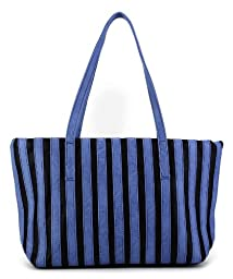 Scarleton Fashion Stripe Tote Bag H153507 - Blue