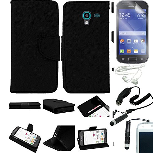 [Arena] Black Leather Flip Cover Fitted Wallet Stand Pouch Case For Samsung Galaxy Exhibit T599 + Free Arena Accessory Kit
