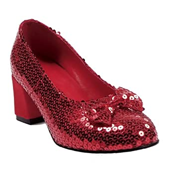 Womens Costume Shoes Sequins Silver Red Ruby Slippers Size: 6 Colors: Red