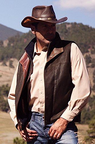 Traveler Leather Vest, Dark Brown, Size 40