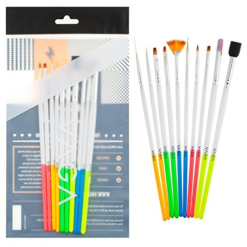 Professional-Nail-Art-Designs-Set-of-10pcs-Different-Nails-Brushes-Stripers-Liners-Dotters-With-Wooden-Handles-In-5-Different-Colors-By-VAGA