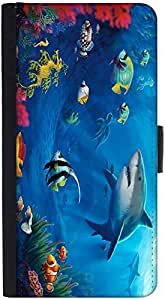 Snoogg Underwater Life 2727 Graphic Snap On Hard Back Leather + Pc Flip Cover...