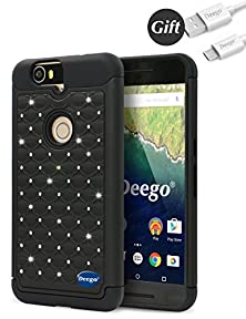 buy Deego Nexus 6P Case [Dual Layer] Studded Rhinestone Crystal Bling Hybrid Armor Defender Protective Case Cover For Huawei Nexus 6P/Google Nexus 6P(2015 Model-5.7 Inch Version)(All Black)