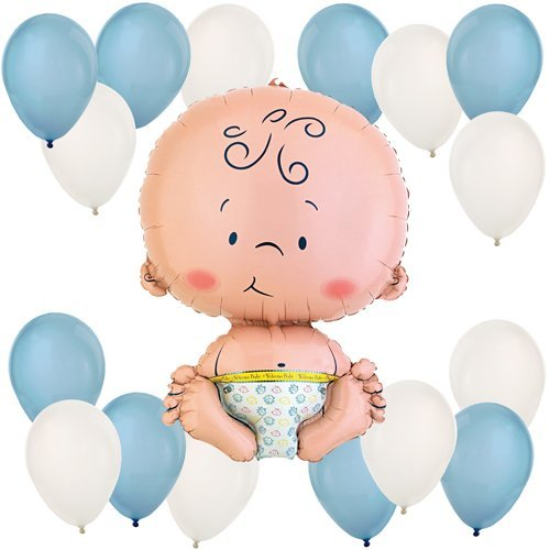 Boy Baby Balloon Kit (Blue and White) - 1