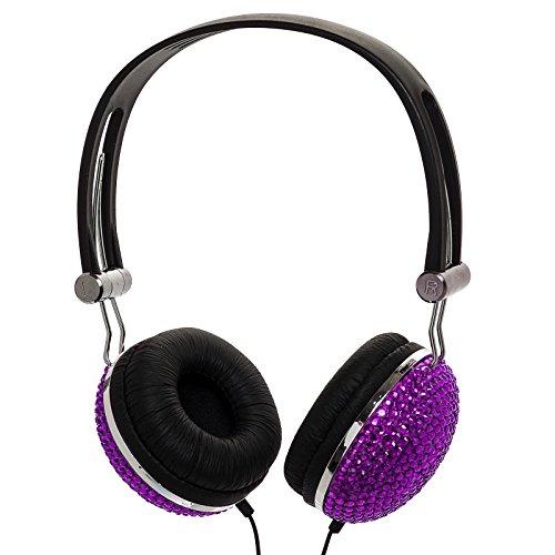 Dark Purple Crystal Rhinestone Bling Dj Over-Ear Headphones
