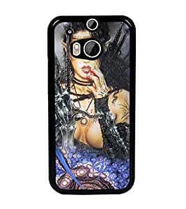 PrintDhaba Warrior Girl D-4099 Back Case Cover for HTC ONE M8s (Multi-Coloured)