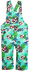 Snuggles AOP Dungaree with Floral Print - Sea Green (12-18M)