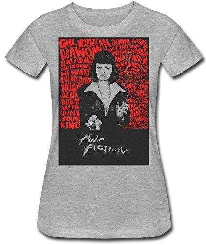 PULP FICTION Cocaine Film Poster Artwork Girl You'll Be A Woman Soon Lyrics Women's T-Shirt Medium