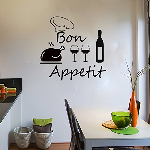 Bon Appetit poulet Verre à vin Sticker vinyle Home Kitchen Cafe Restaurant Decor Art