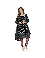 Sonal Trendz Black Cotton Printed Bandhani Dress Material Suit