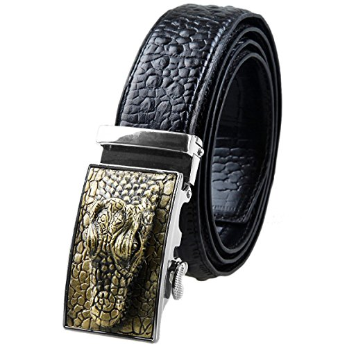 Moonsix Mens Alligator Embossed Buckle Genuine Leather Ratchet Belt,Black (Alligator Belt Black compare prices)