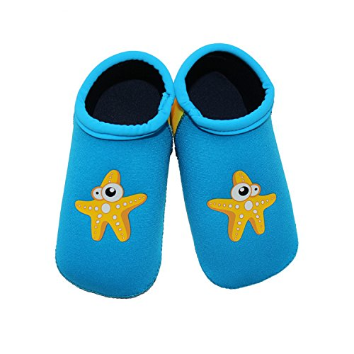 TANZKY® Unisex Baby Infant Swim Shoes Water Shoes Beach Shoes (Blue, S (Sole length 4.9 inches, 6-12 Months))
