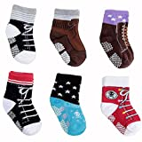 Pro1rise® 6 Pairs Toddler Baby Boys Antislip Skid Sneakers Shoe Socks Age 12-24 Months