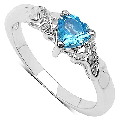 The Blue Topaz Ring Collection: Beautiful Sterling Silver Heart Shaped Swiss Blue Topaz Engagement Ring with Diamond Set Shoulders
