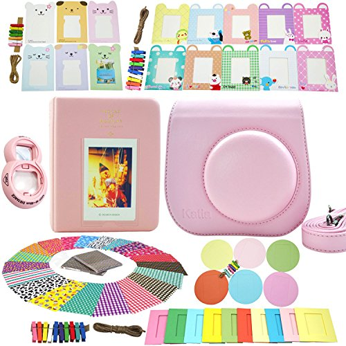 Fujifilm Instax Mini 8 Instant Camera Accessory Bundles Set (Fujifilm instax mini 8 case bag/ Instax Mini Book Album/ Mini 8 close-up lens(self-portrait mirror)/ colorful decor sticker borders/ colorful wall decor hanging frame) (pink)