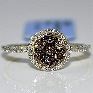 cognac diamond halo engagement ring fashion anniversary 0.5ct 10K Yellow gold from MidwestJewellery