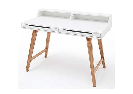 Schreibtisch in matt weiß mit Beinen in Buche massiv und 2 Schubkästen, Maße: B/H/T ca. 110/85/58 cm