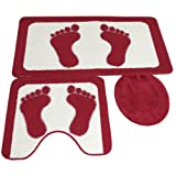 3 Piece Feet Pattern Bath & Pedestal Bathroom Mat Set with Toilet Seat Cover (3 Colours)