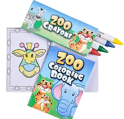 ZOO ANIMAL MINI COLORING SET (One Dozen Sets) - 1