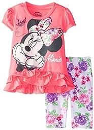 Disney Baby Girls\' Minnie Mouse Flower Print Legging Set, Pink, 18 Months