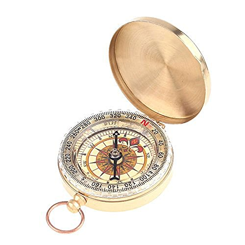 niceEshop(TM) Classical Outdoor Camping Hiking Portable Brass Pocket Golden Compass Navigation Tool-Brassy
