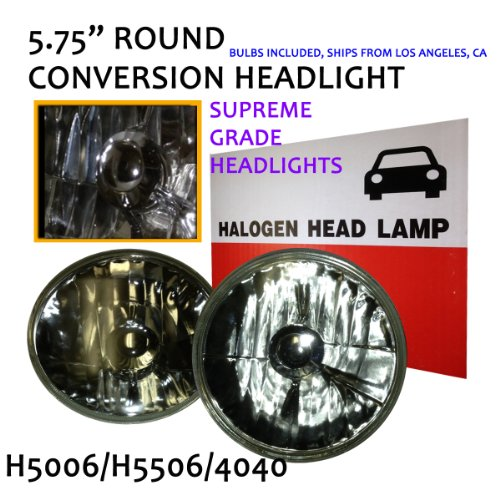 "Pcp Universal 5 3/4"" 5"" Crystal Clear Round Glass Lens Conversion Headlight H5006 H5506 With Hyper White H4 Bulbs"