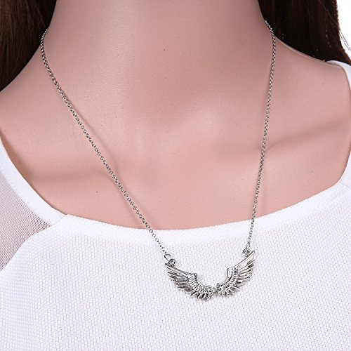 [Fashion Women Silver Angel Wing White Gold Plated Necklace Pendant Chain Jewelry, NK.] (Fantasy Life Angel Costume)