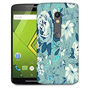 Snoogg Blue Floral Pattern 2481 Designer Protective Phone Back Case Cover For Motorola Moto X Play