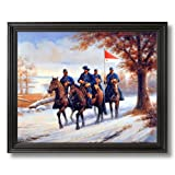 Civil War Blue Soldiers Horses Animal Home Decor Wall Picture Black Framed Art Print